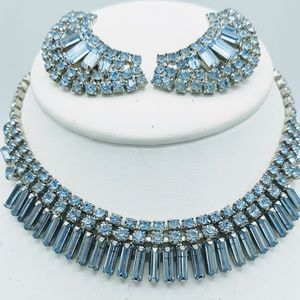 Vintage Rhinestone Necklace & Clip Earrings Set